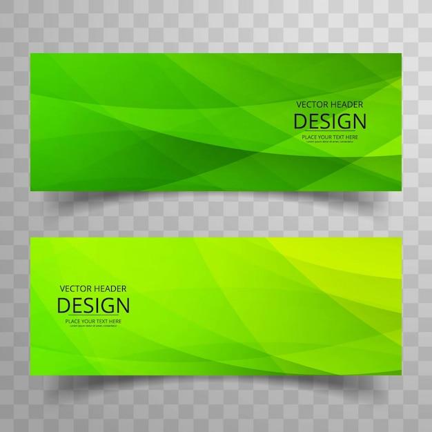 Bandiere verdi moderne Vettore gratuito