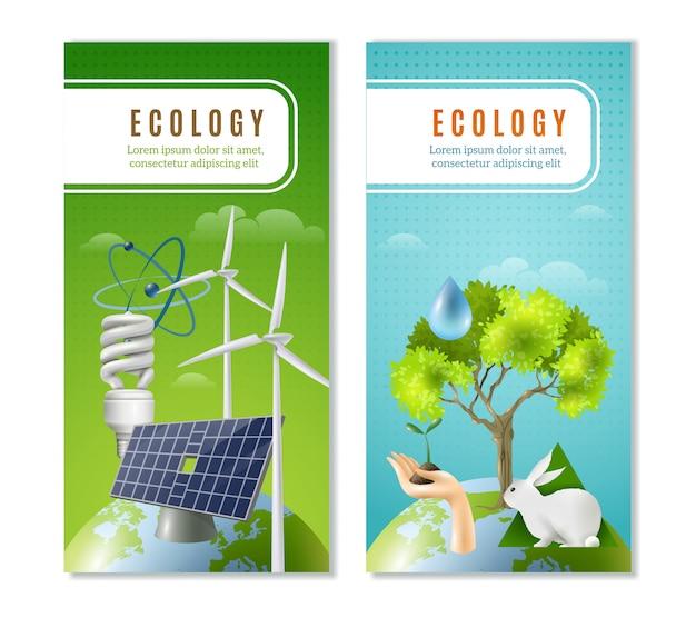 Bandiere verticali di energia verde di ecologia Vettore gratuito
