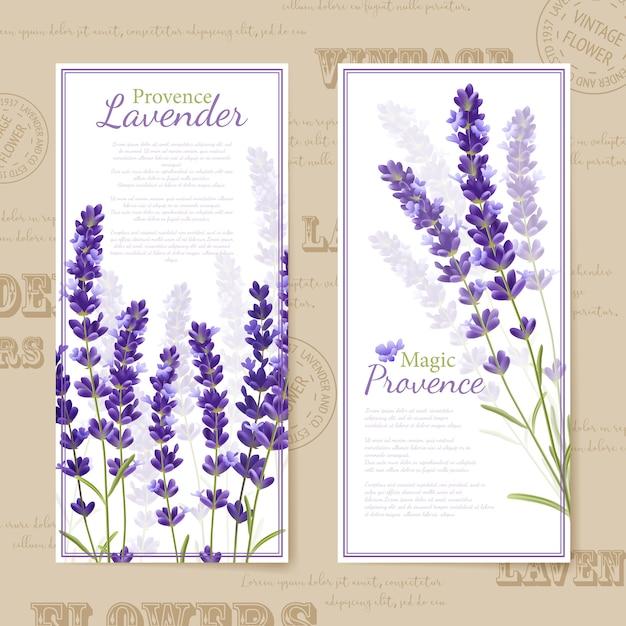 Bandiere verticali di fiori di lavanda Vettore gratuito