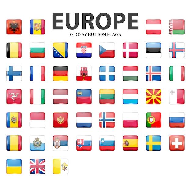 Bandierine dei pulsanti lucidi - europa. colori originali Vettore Premium