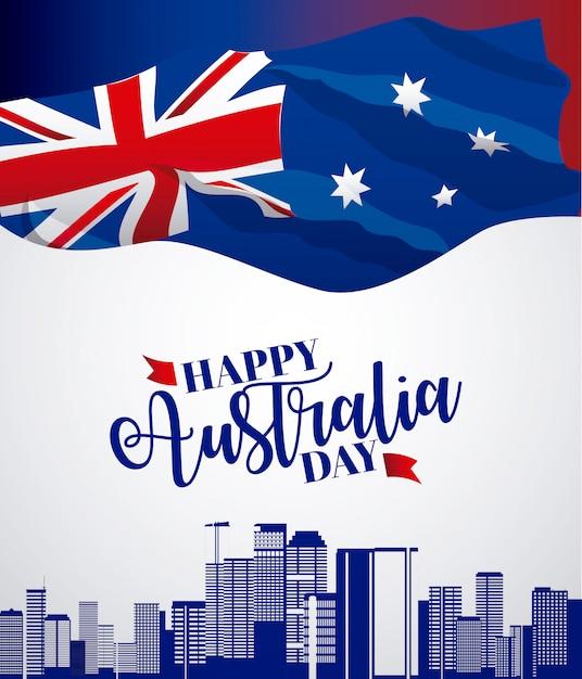 Baner del giorno felice dell'australia con la bandiera e l'orizzonte Vettore gratuito