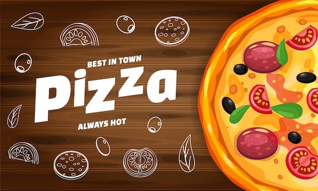 Baner italiano del modello orizzontale della pizzeria della pizza con gli ingredienti e testo su legno Vettore Premium