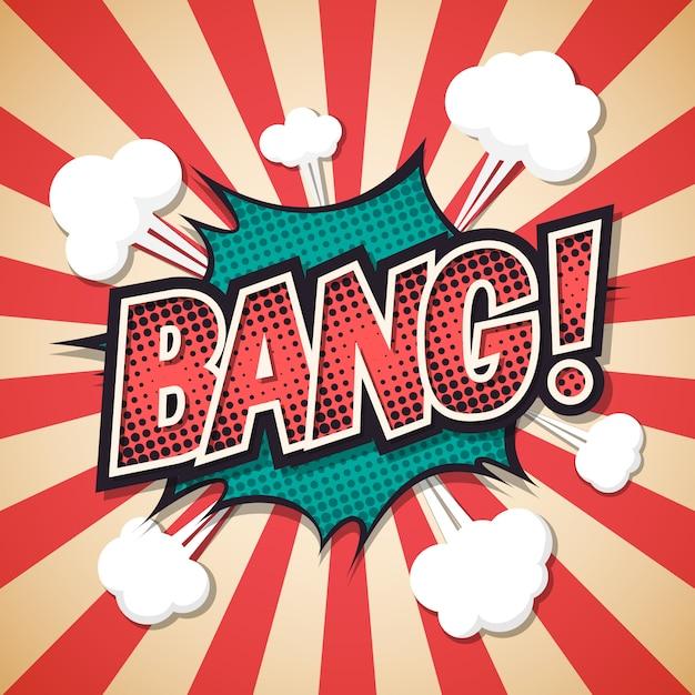 Bang, fumetto comico di esplosione. Vettore Premium