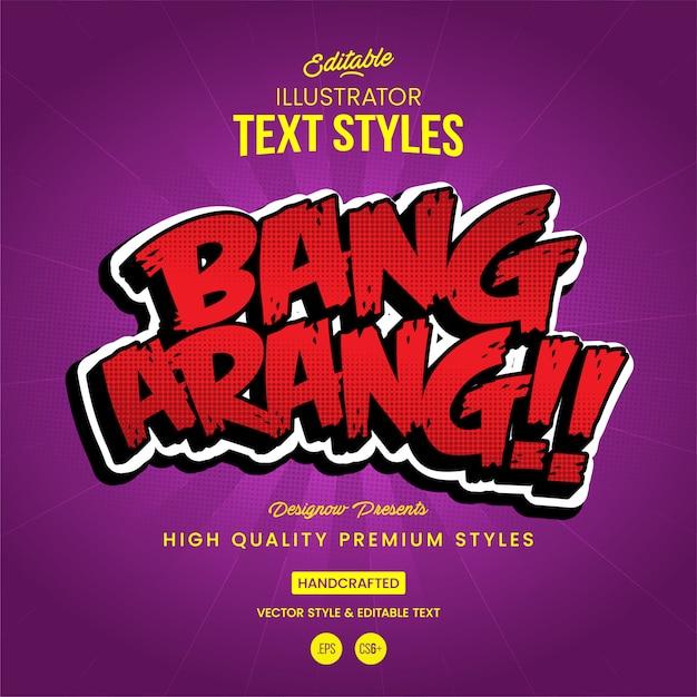 Bang text style Vettore Premium