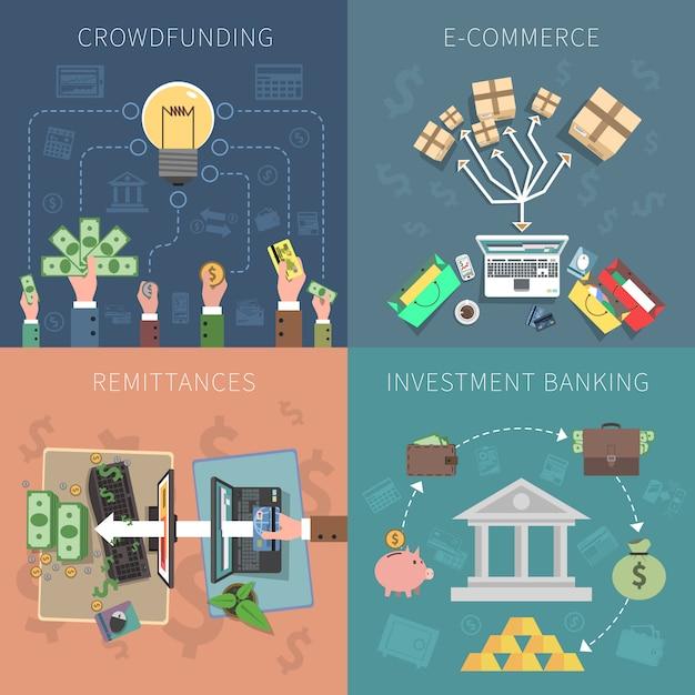 Bank design concept set Vettore gratuito
