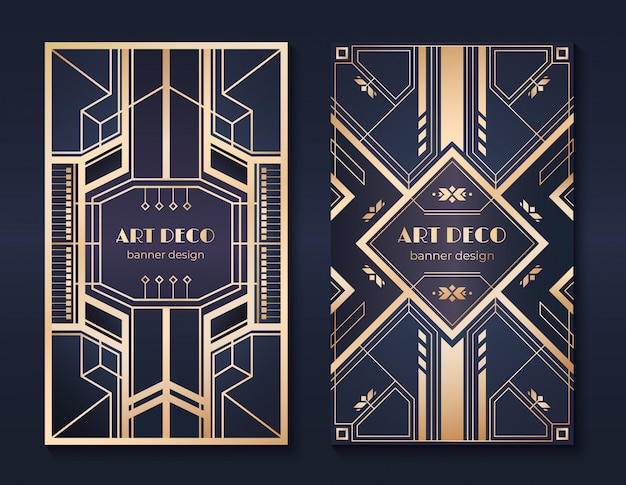 Banner art deco. volantino per invito alla festa degli anni '20, fantasia ornamentale dorata, cornici e motivi vintage set di volantini in stile art deco Vettore Premium