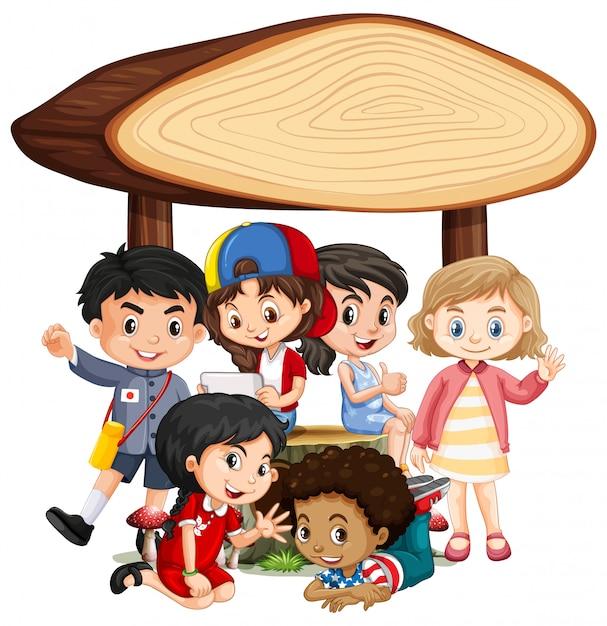 Banner bianco con bambini felici Vettore gratuito