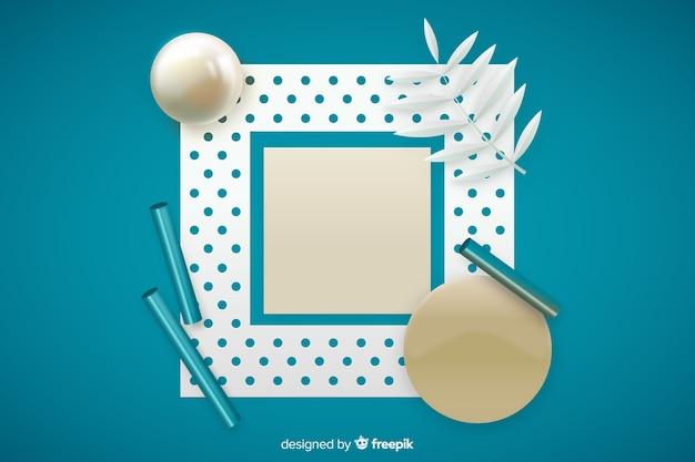 Banner bianco con forme geometriche tridimensionali Vettore gratuito
