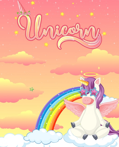 Banner bianco con unicorno carino sullo sfondo del cielo pastello Vettore gratuito