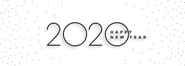 Banner bianco minimo 2020 felice anno nuovo Vettore gratuito