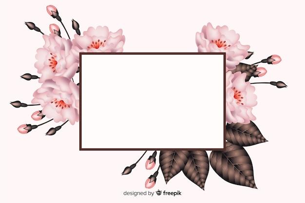 Banner bianco realistico con cornice floreale Vettore gratuito