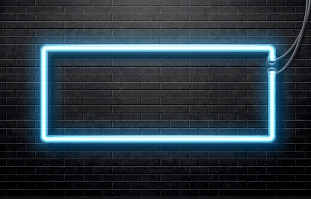 Banner blu al neon isolato su nero muro di mattoni Vettore Premium