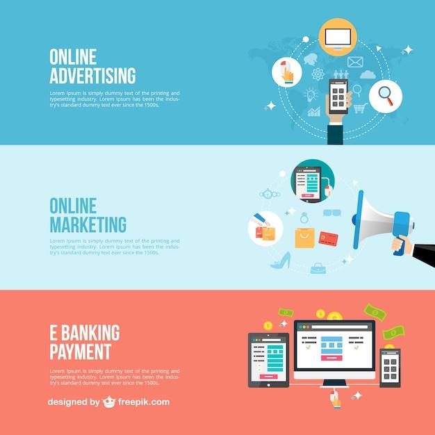 Banner business online Vettore gratuito