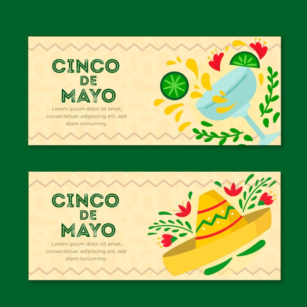 Banner cinco de mayo in design piatto Vettore gratuito