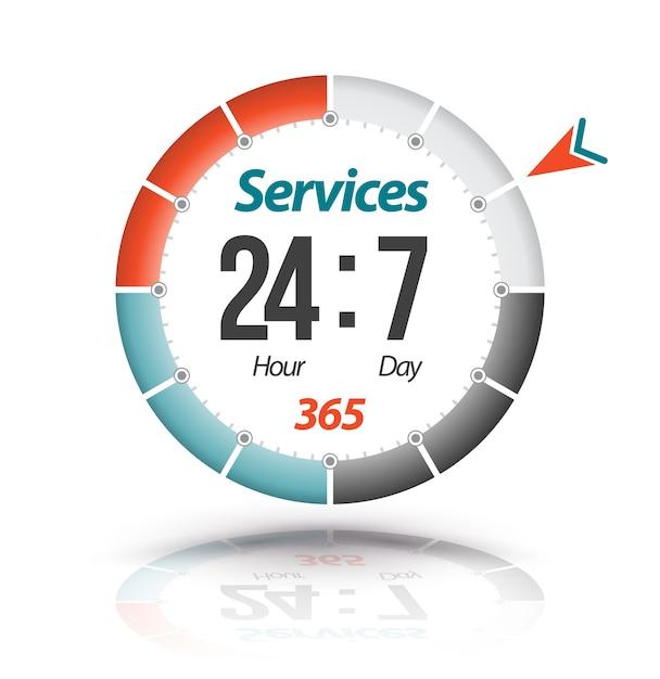 Banner circolare servizi 24 ore su 24 7 giorni su 365 Vettore Premium