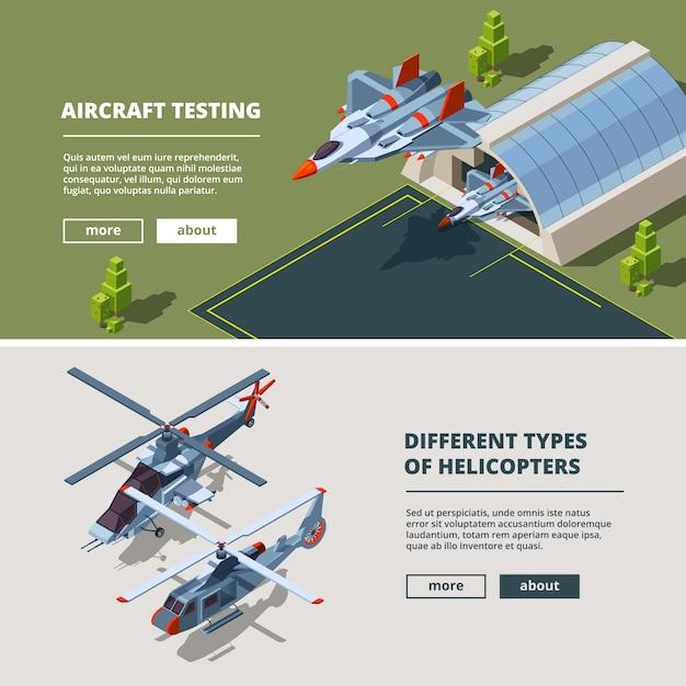 Banner con immagini di aeroplani. Vettore Premium