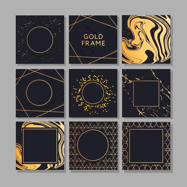 Banner con un design d'oro moda arte vettoriale Vettore Premium