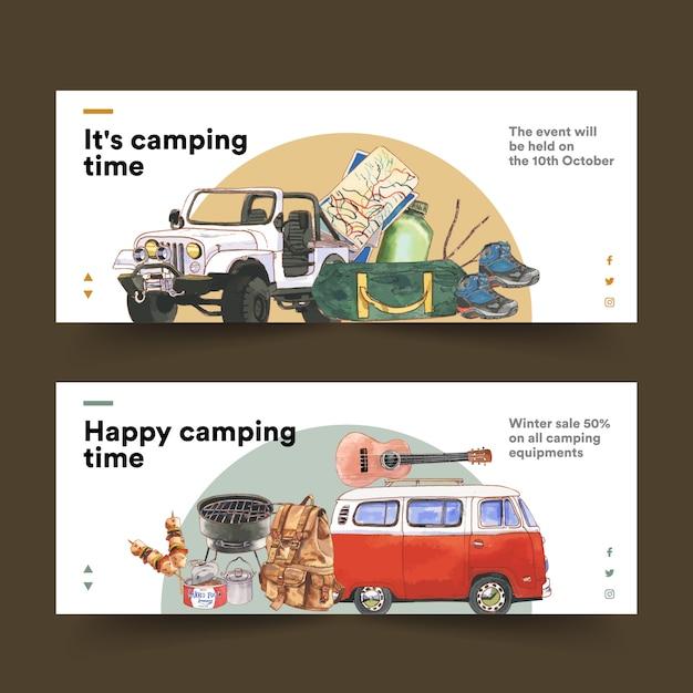 Banner da campeggio con furgone, chitarra, scarponcini da trekking e illustrazioni di zaini Vettore gratuito
