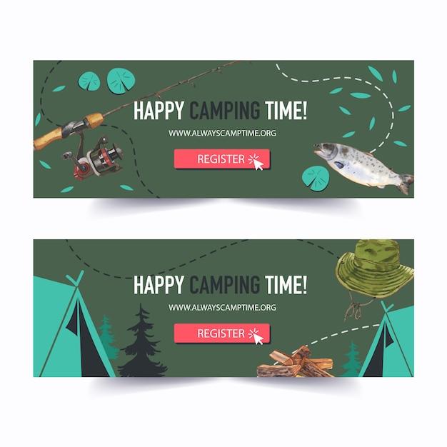 Banner da campeggio con illustrazioni. Vettore gratuito