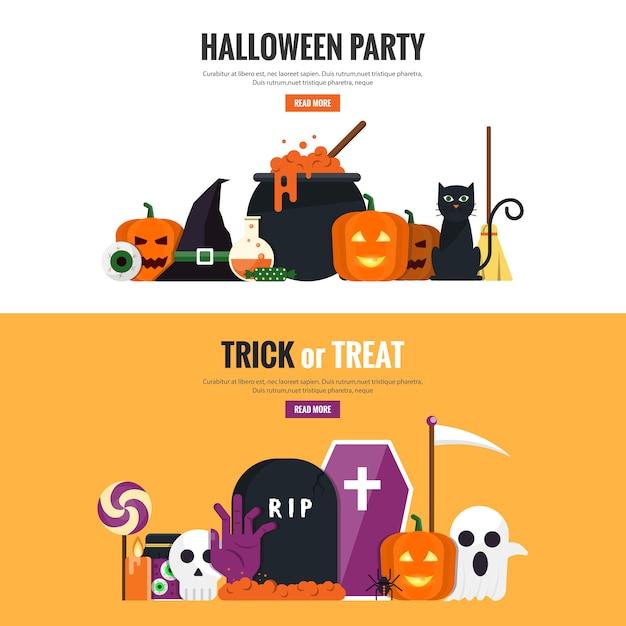 Banner dal design piatto hallowen 2 Vettore Premium