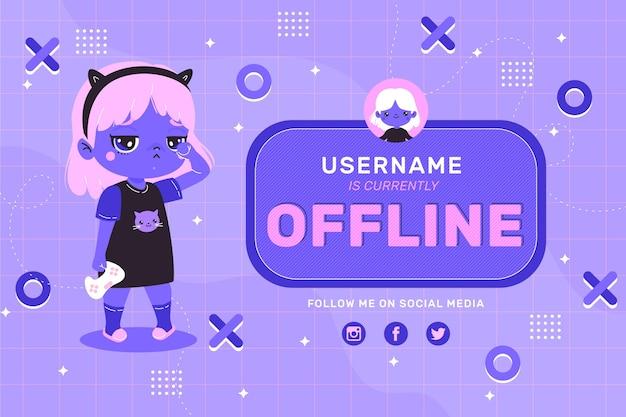 Banner dall'aspetto carino per piattaforma twitch offline Vettore gratuito