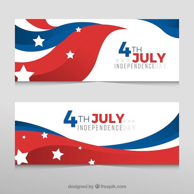 Banner decorativi con bandiera americana ondulata per giorno di indipendenza Vettore gratuito