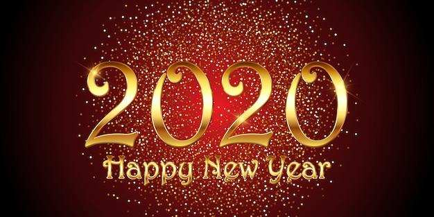 Banner decorativo di felice anno nuovo Vettore gratuito