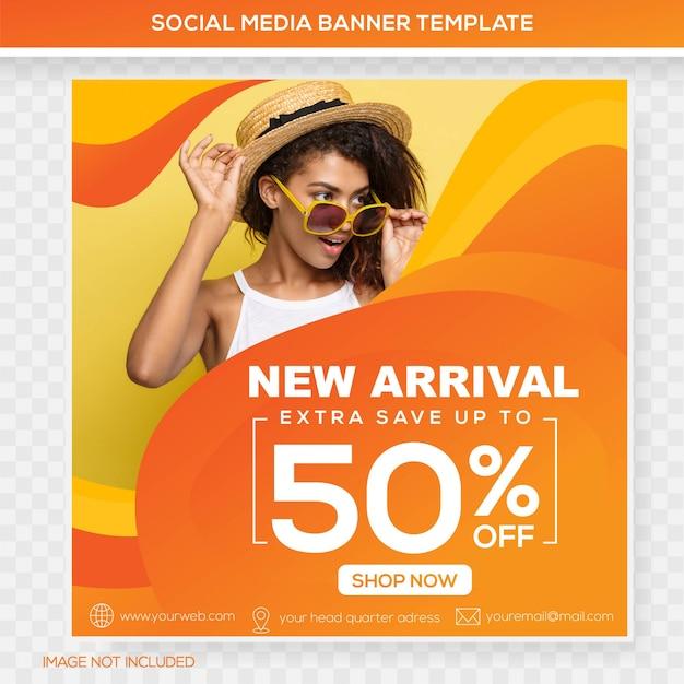 Banner dei feed dei social media Vettore Premium