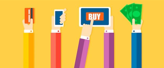 Banner dei metodi di pagamento. le mani pagano la merce, con l'aiuto di contanti, telefono, carta Vettore gratuito