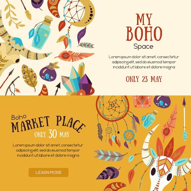 Banner del mercato boho Vettore gratuito
