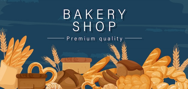 Banner del negozio di panetteria Vettore Premium