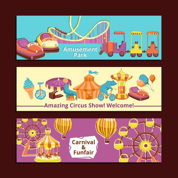 Banner del parco divertimenti Vettore gratuito