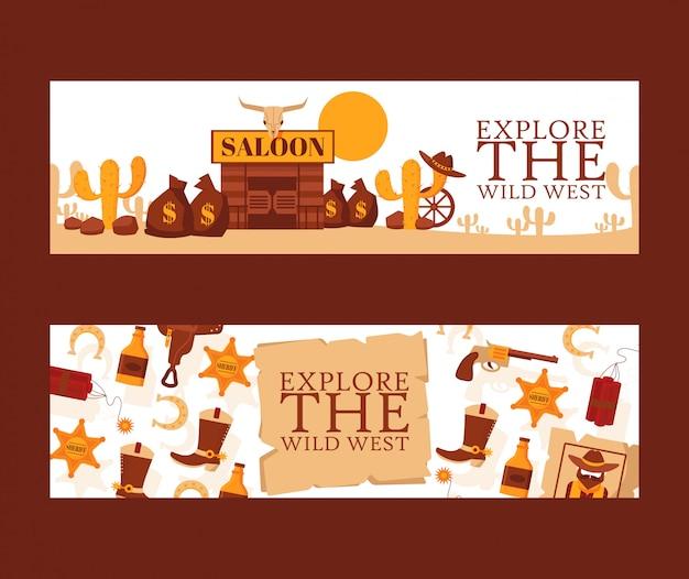 Banner del selvaggio west, illustrazione. simboli di stile cartone animato delle avventure di cowboy occidentali americani. salone nel deserto messicano, icona dello sceriffo. Vettore Premium