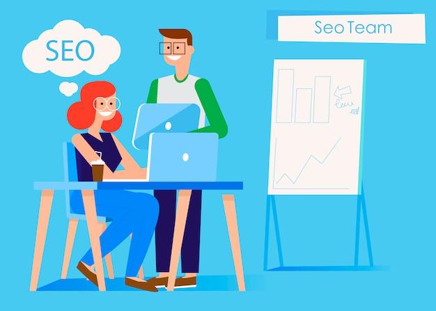 Banner del team di marketing. uomo e donna in ufficio al computer e tablet. Vettore gratuito