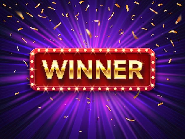 Banner del vincitore. vinca la struttura d'annata di congratulazioni, segno incorniciato congratulazioni dorato con l'illustrazione del fondo dei coriandoli dell'oro Vettore Premium