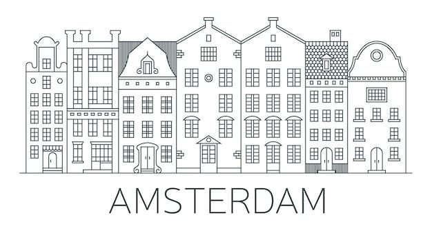Banner della città di amsterdam in stile linea. Vettore Premium