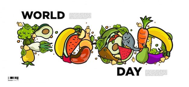 Banner della giornata mondiale dell'alimentazione. vari alimenti, frutta e verdura Vettore Premium