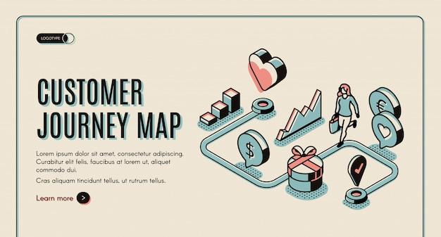 Banner della mappa di viaggio del cliente Vettore gratuito