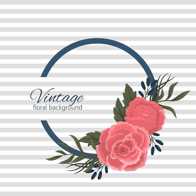 Banner design con rose rosse e fiori blu Vettore gratuito