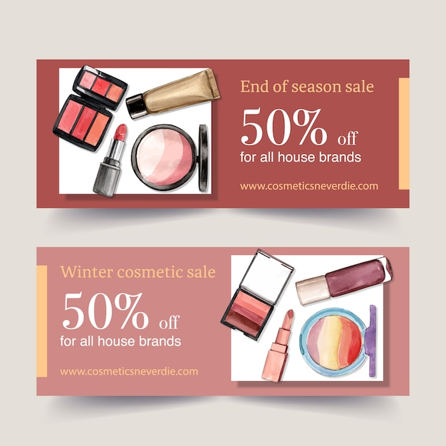 Banner design cosmetico con rossetto, pennello, evidenziatore Vettore gratuito
