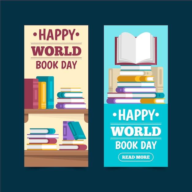 Banner design giornata mondiale del libro design Vettore gratuito
