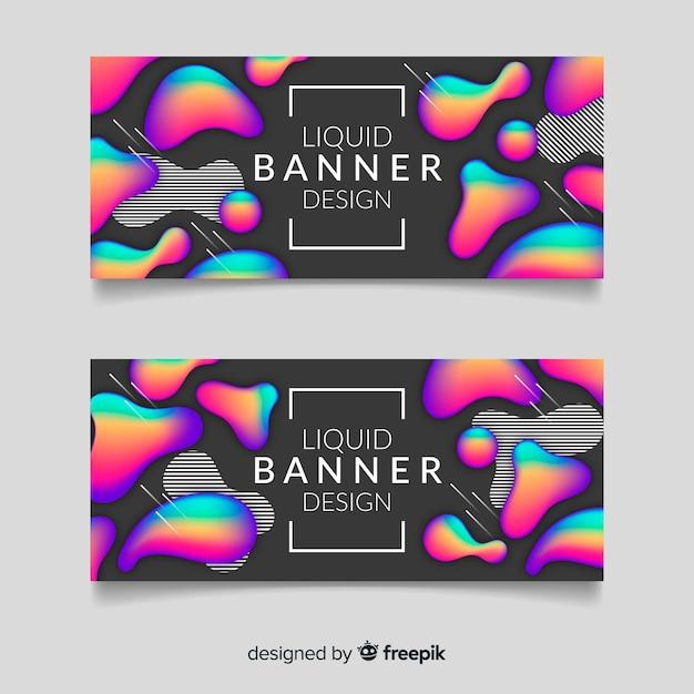 Banner design liquido astratto Vettore gratuito