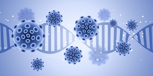 Banner design medico con cellule virus astratte Vettore gratuito