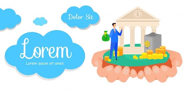 Banner di affari bancari proficuo Vettore Premium