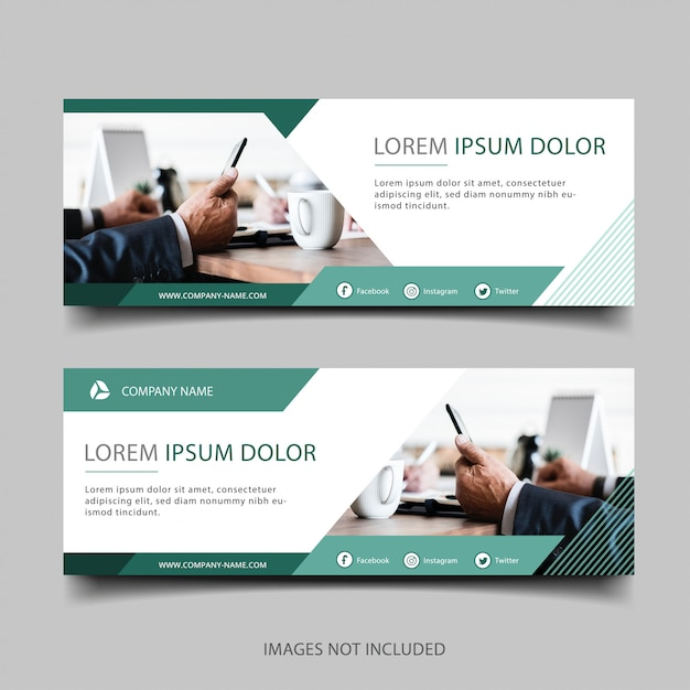 Banner di affari verde Vettore Premium