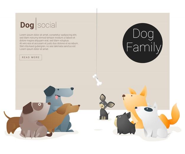 Banner di animali con cani Vettore Premium