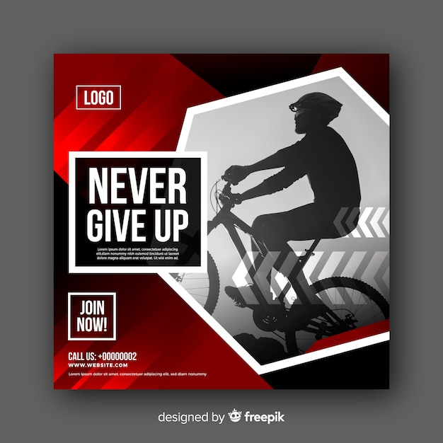 Banner di atleta in bicicletta con foto Vettore gratuito