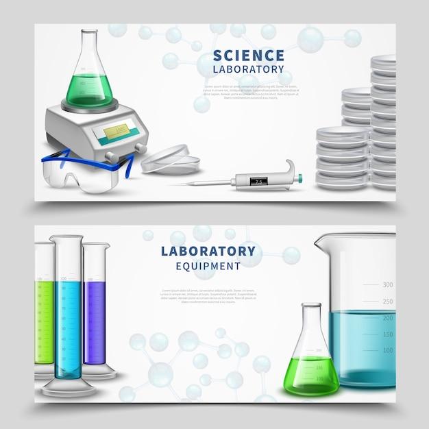 Banner di attrezzature di laboratorio di scienze Vettore gratuito