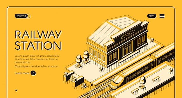 Banner di banner isometrico di trasporto della ferrovia Vettore gratuito