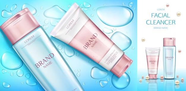 Banner di bottiglie cosmetiche, set di prodotti cosmetici di bellezza, linea per la cura del viso su blu con gocce di acqua. Vettore gratuito